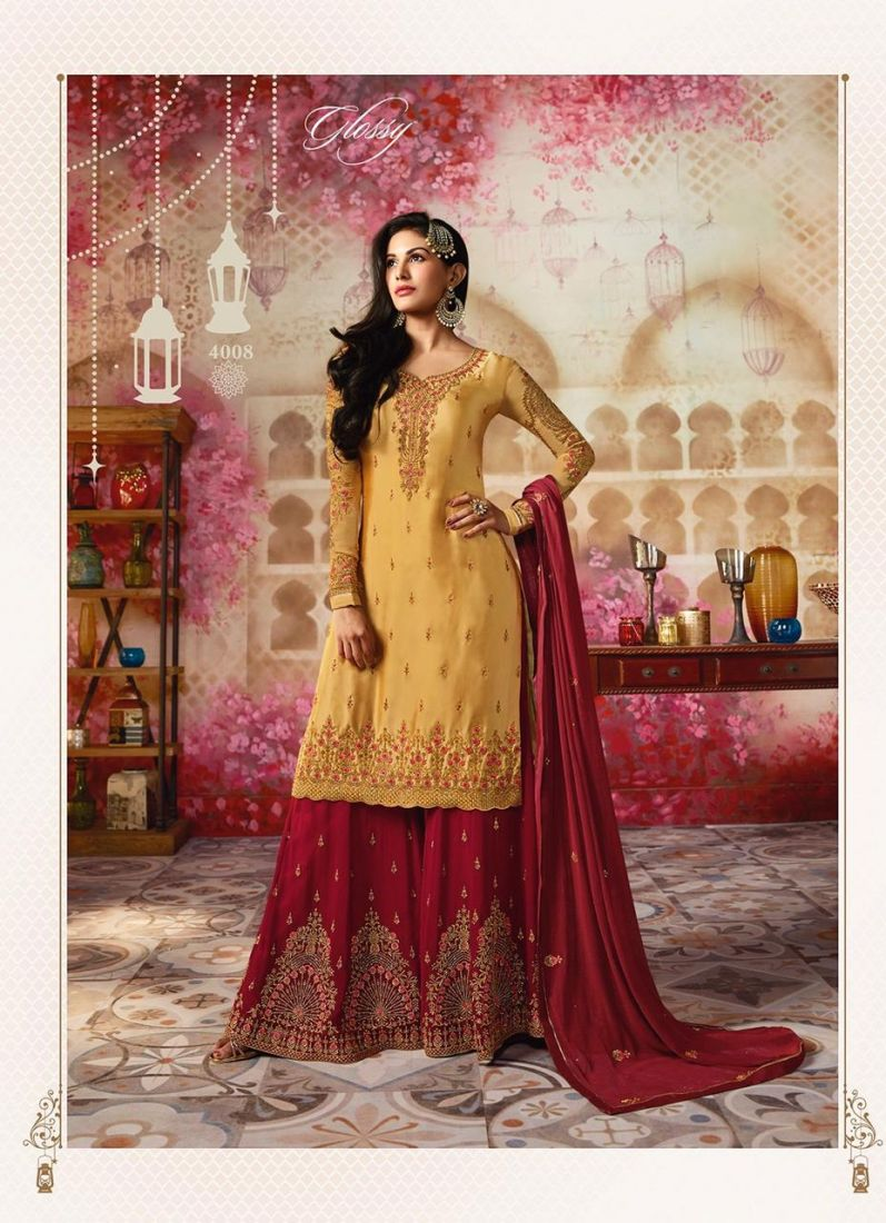 Faux Georgette Mustard Embroidered Designer Pakistani Suit