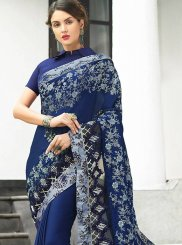 Faux Georgette Navy Blue Classic Designer Saree
