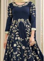 Faux Georgette Navy Blue Embroidered Work Floor Length Anarkali Suit