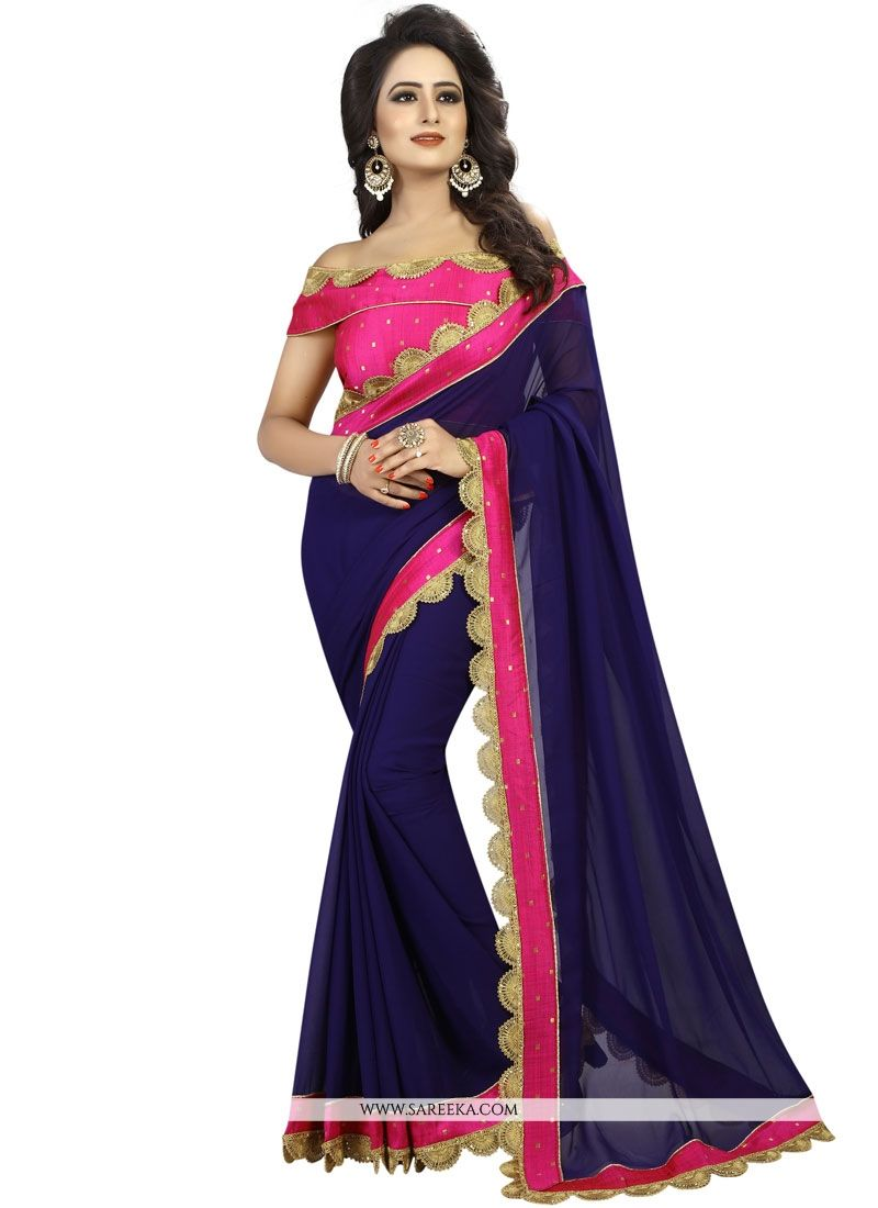 Faux Georgette Navy Blue Patch Border Work Designer Saree