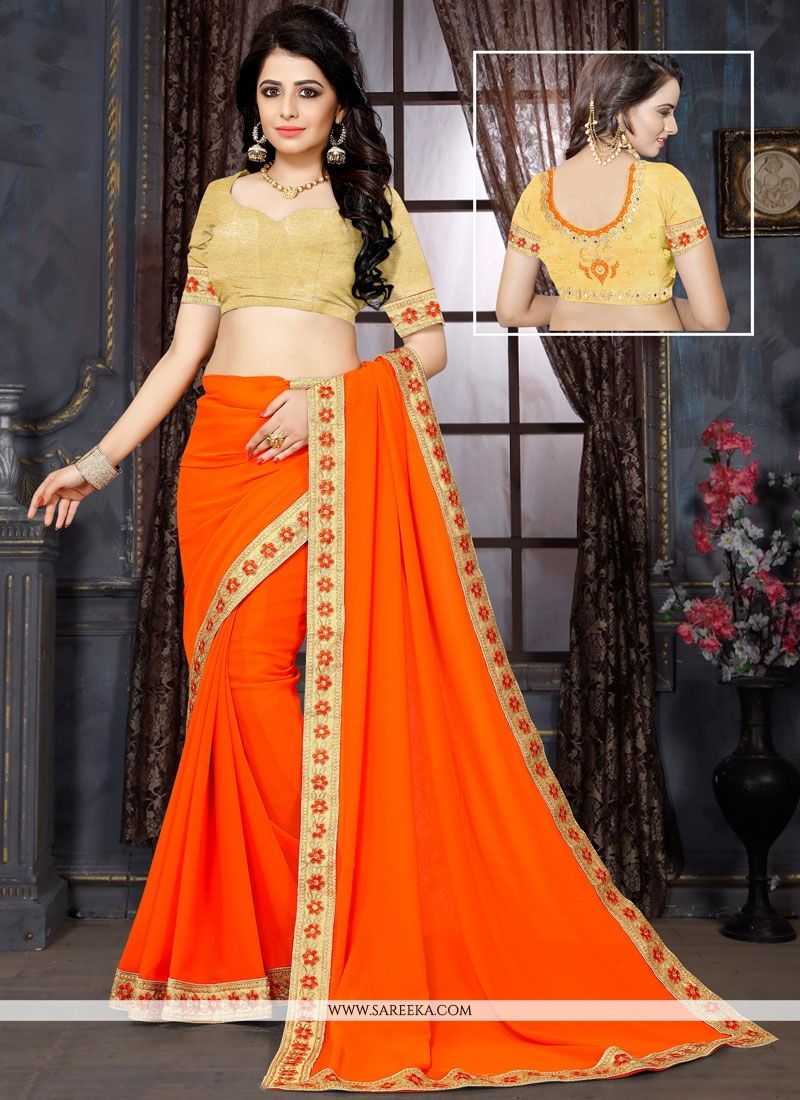 Faux Georgette Orange Embroidered Work Saree