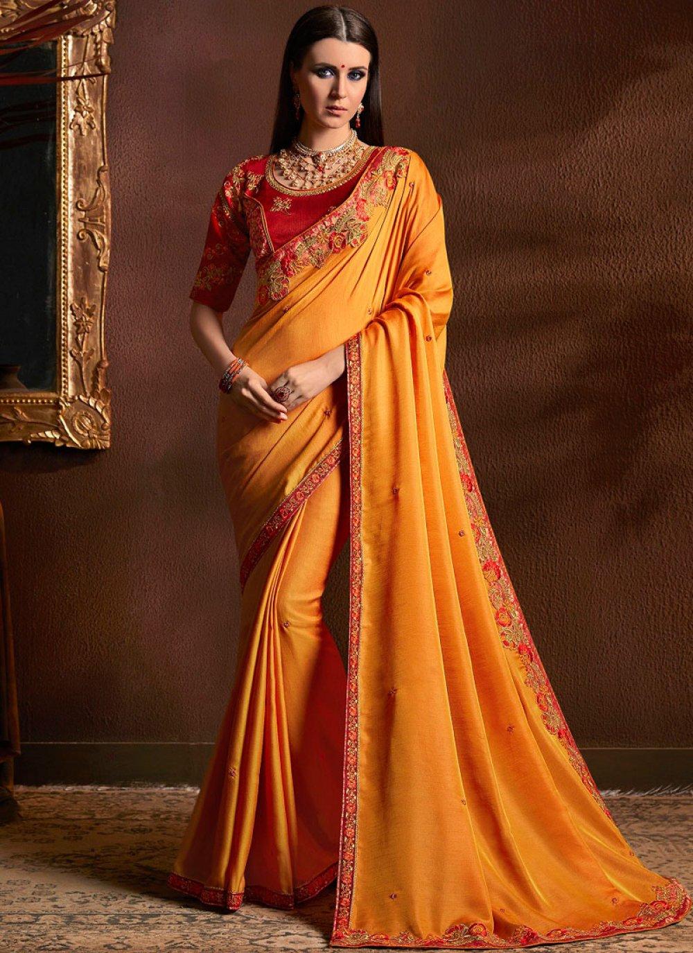 Faux Georgette Orange Traditional Designer Saree