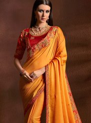 Faux Georgette Orange Traditional Designer Saree