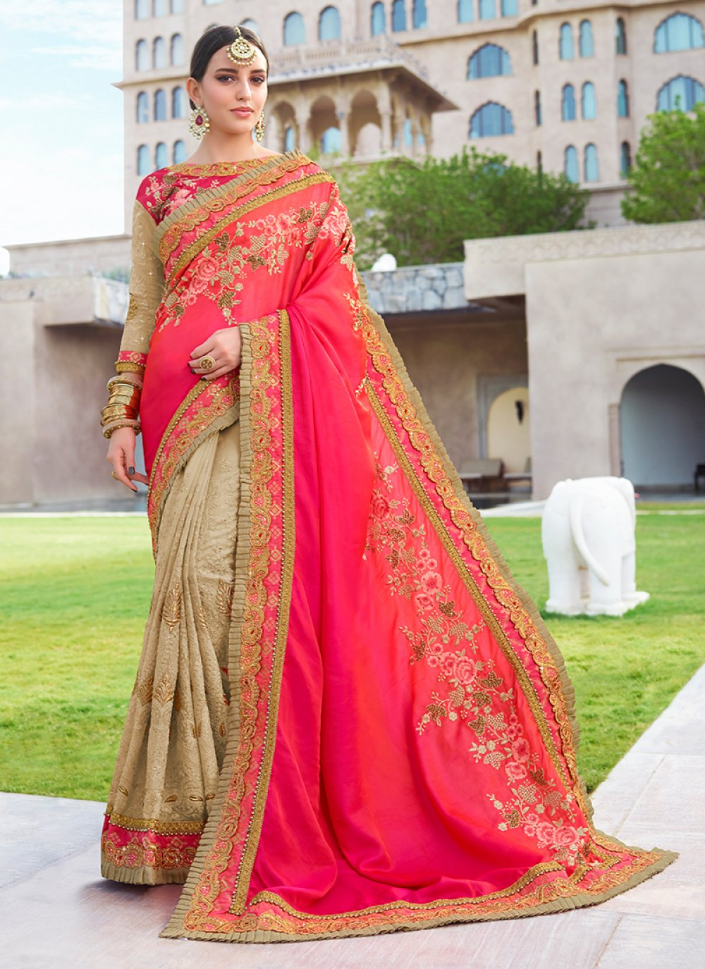 Faux Georgette Patch Border Half N Half Designer Saree