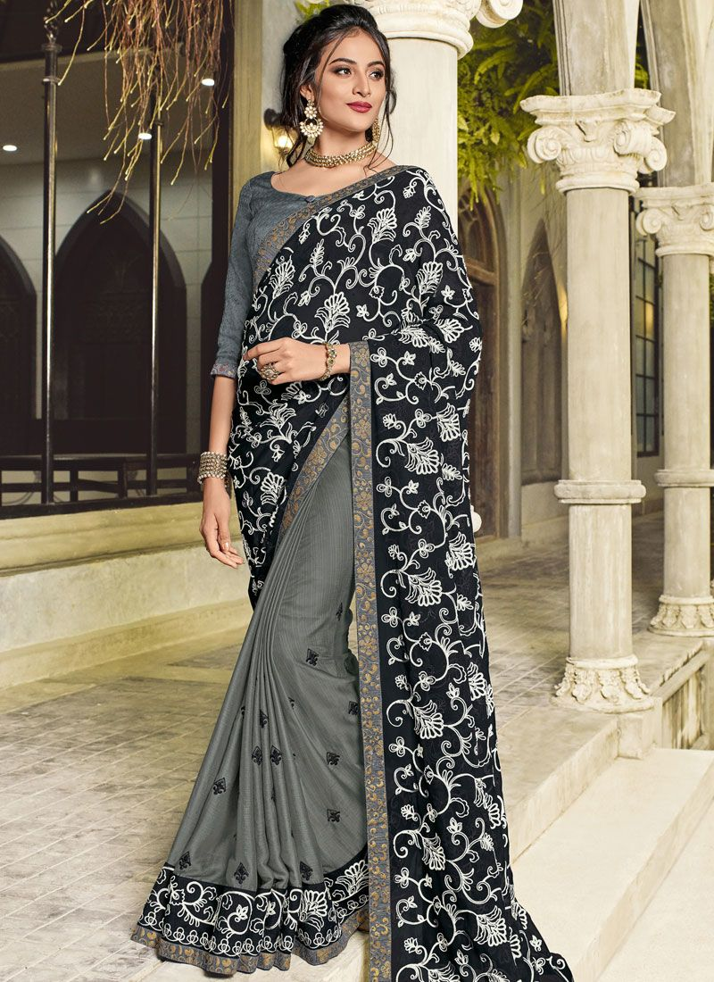 Faux Georgette Patch Border Half N Half Designer Saree in Black and Grey