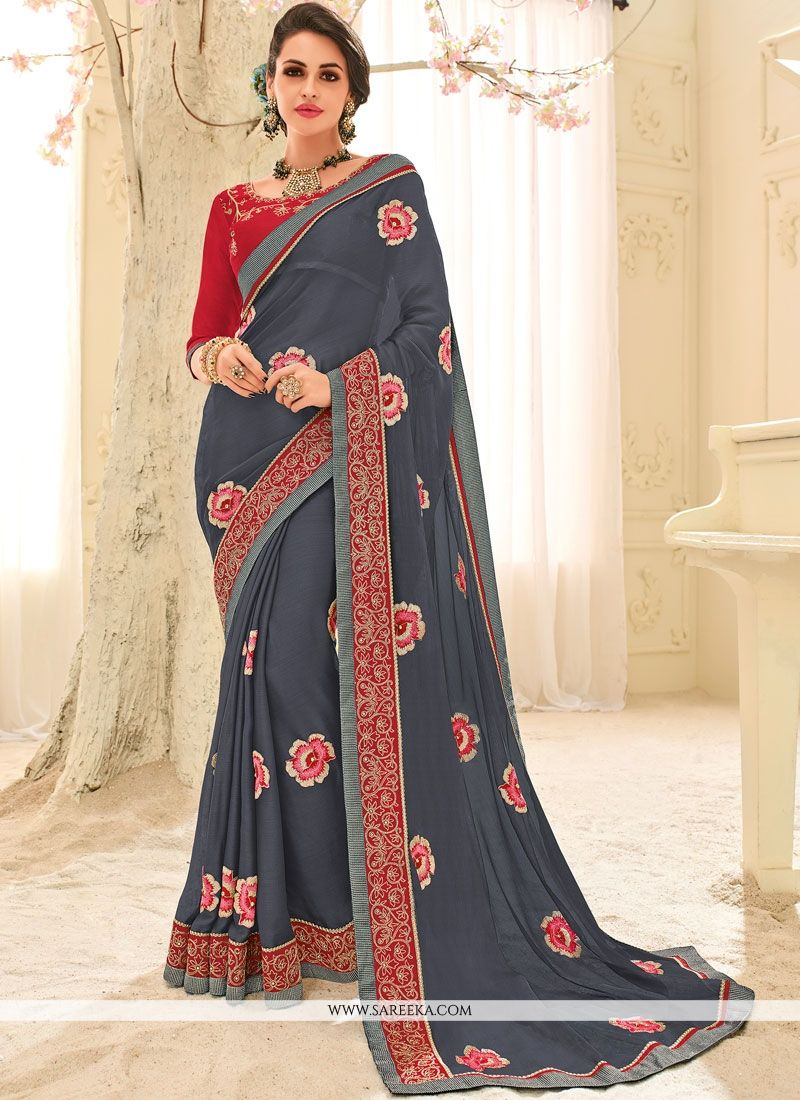 Faux Georgette Patch Border Work Classic Designer Saree