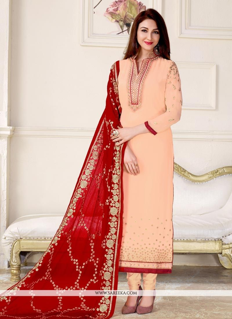 Faux Georgette Peach Designer Straight Suit