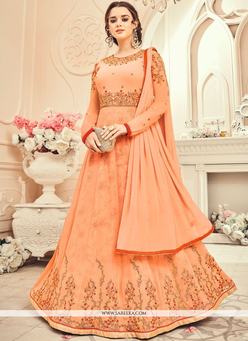 Faux Georgette Peach Floor Length Anarkali Suit
