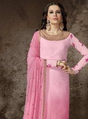 7d1b98bf96 Faux Georgette Pink Designer Pakistani Suit