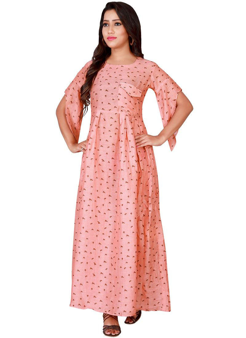c95f5d6c5e Buy Faux Georgette Pink Print Work Readymade Gown : 80111 -