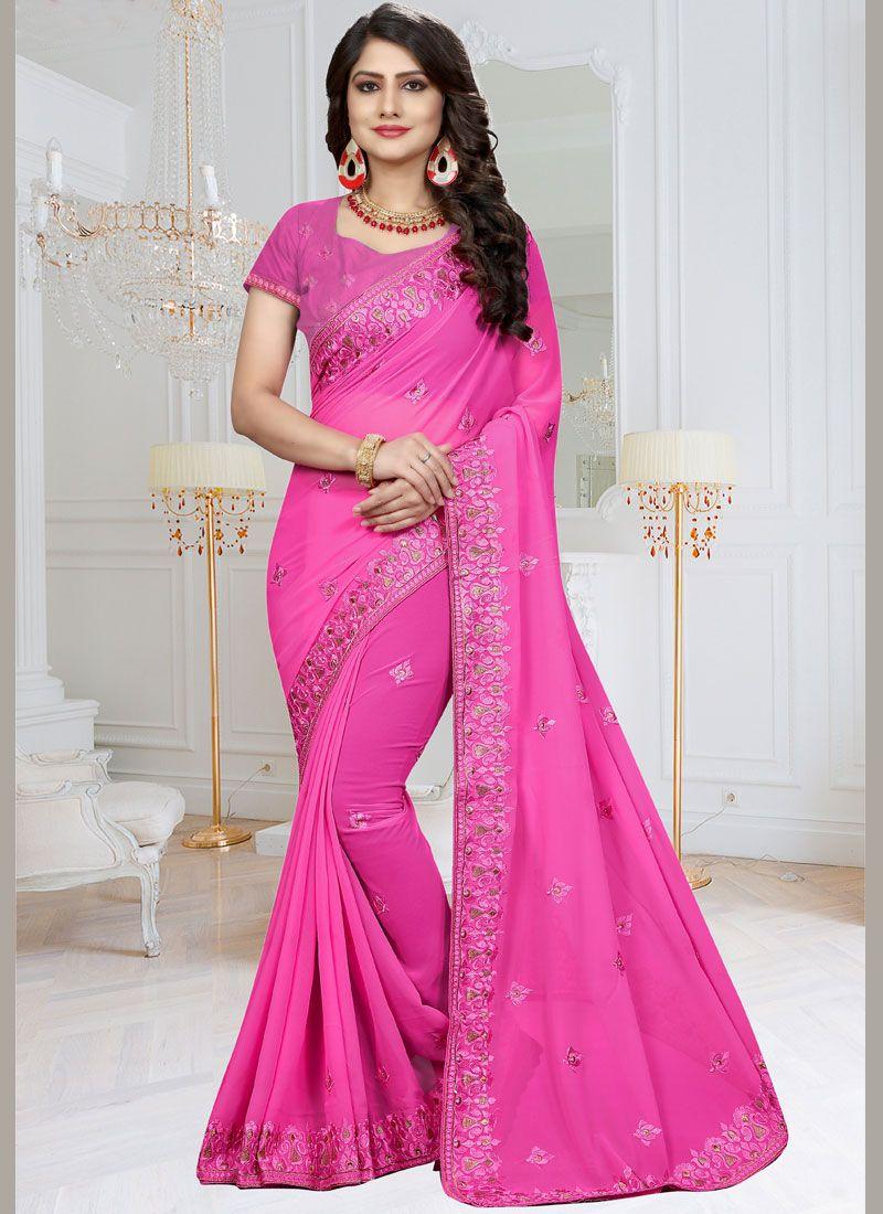bb6fe5b55b499 Buy Faux Georgette Pink Resham Work Saree Online -
