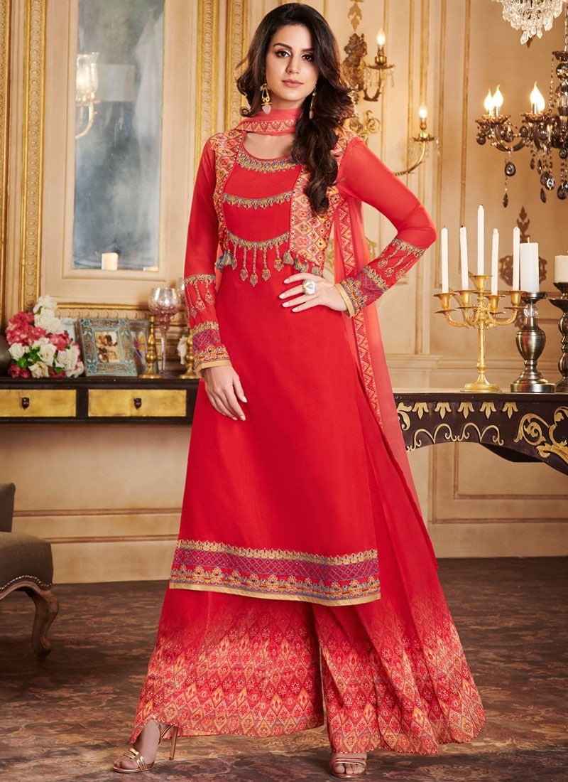 Faux Georgette Print Red Designer Palazzo Suit