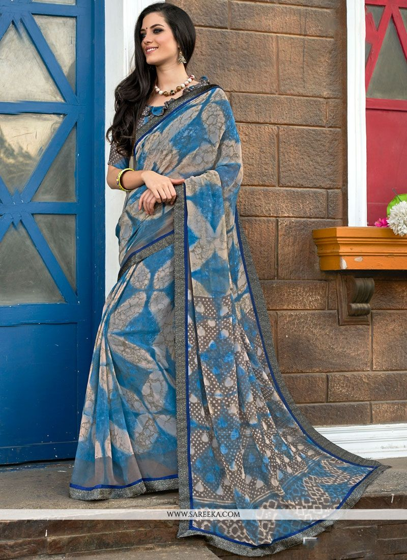 Faux Georgette Print Work Printed Saree