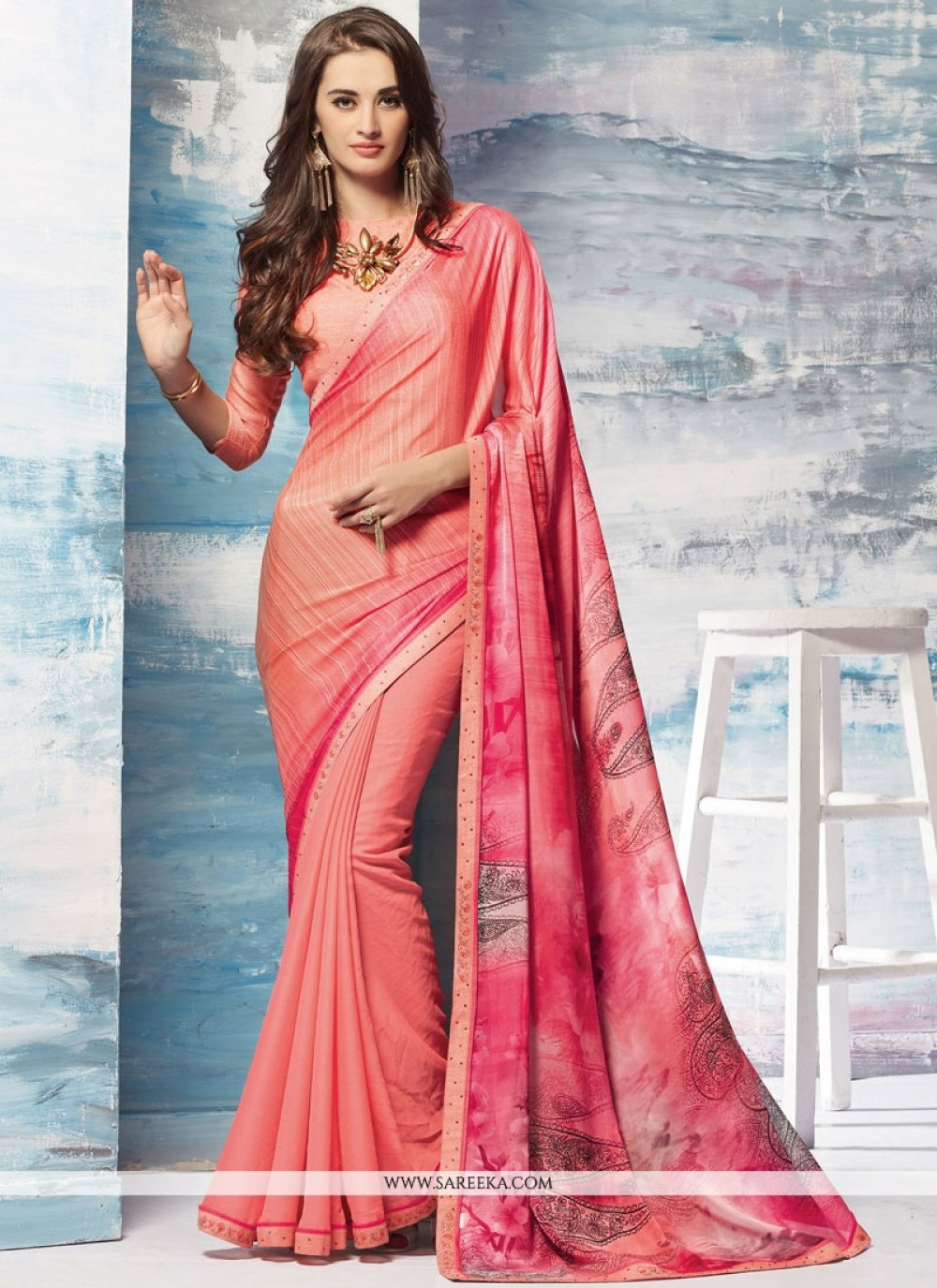 Faux Georgette Printed Saree