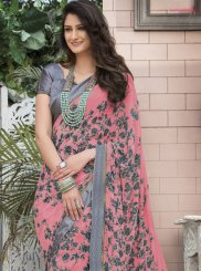 Faux Georgette Printed Saree in Pink