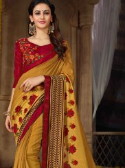 Faux Georgette Printed Saree in Yellow