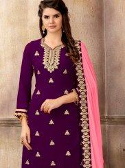 Faux Georgette Purple Embroidered Designer Pakistani Suit