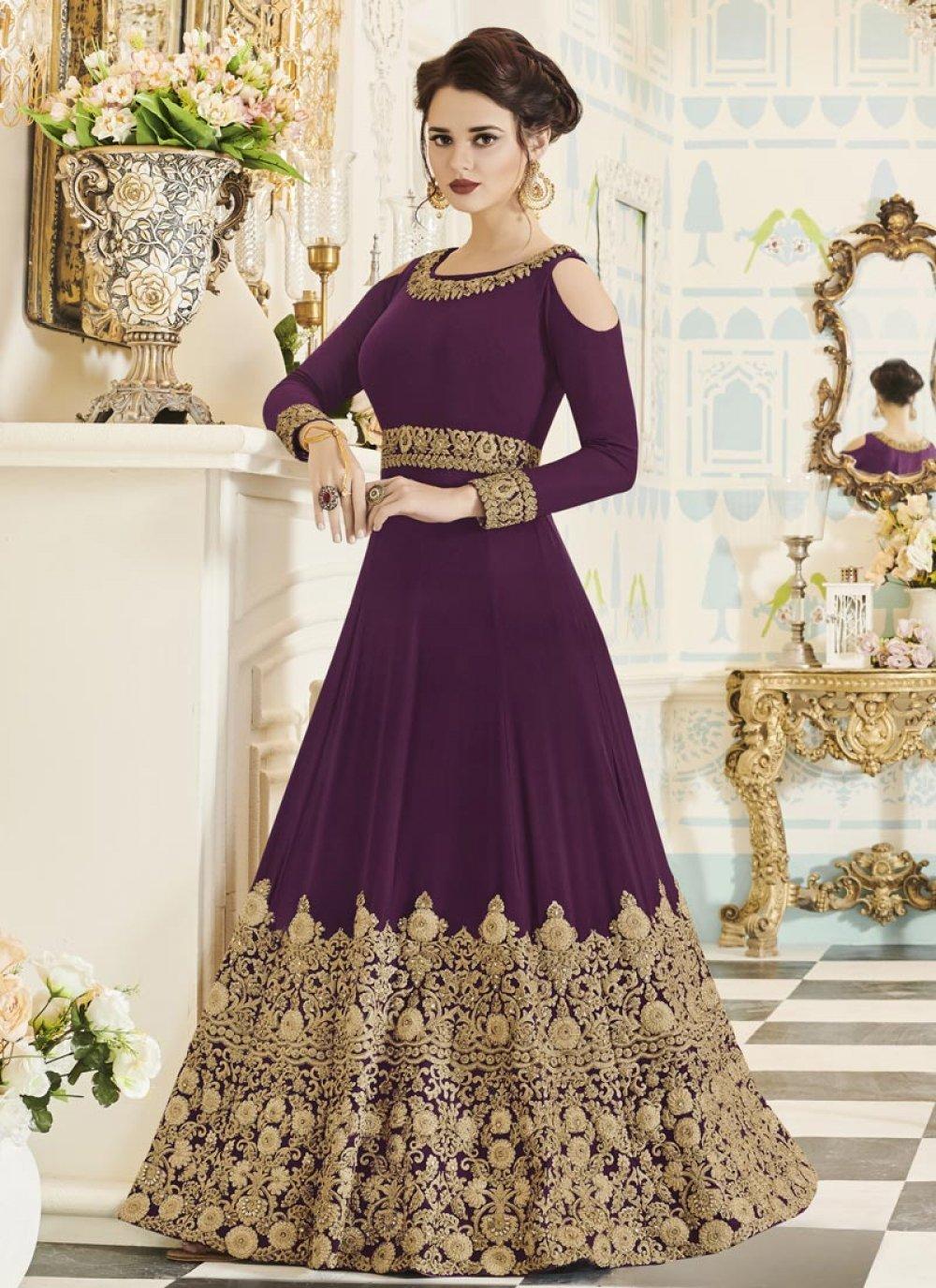 Faux Georgette Purple Floor Length Anarkali Suit