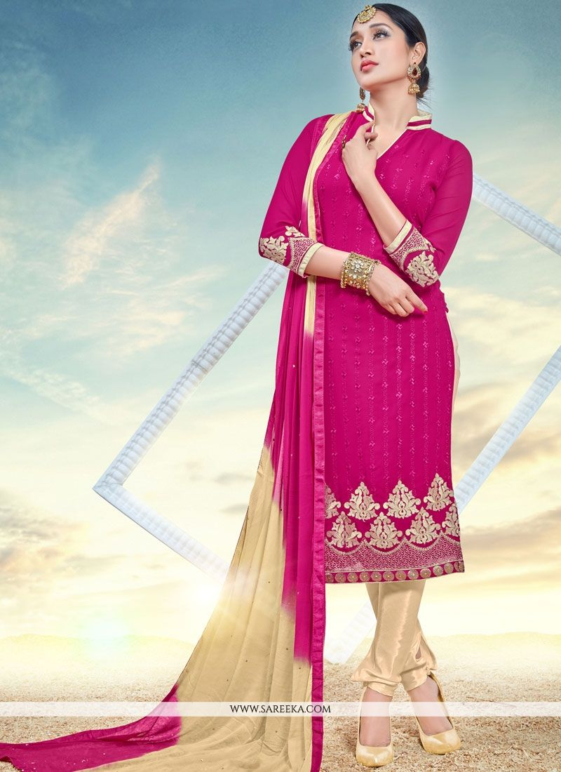 Faux Georgette Rani Embroidered Work Churidar Designer Suit