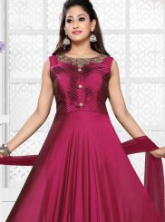 Faux Georgette Readymade Anarkali Suit in Magenta