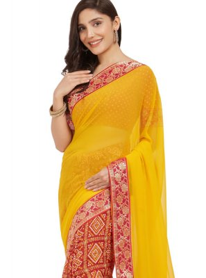 Faux Georgette Red and Yellow Casual Saree