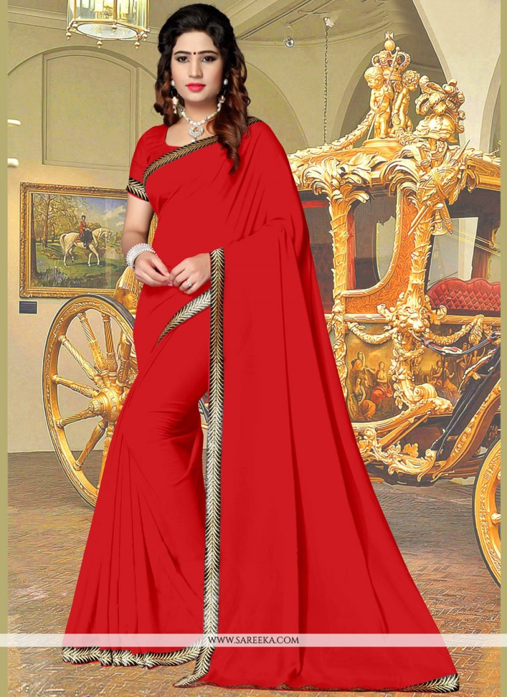 Faux Georgette Red Casual Saree