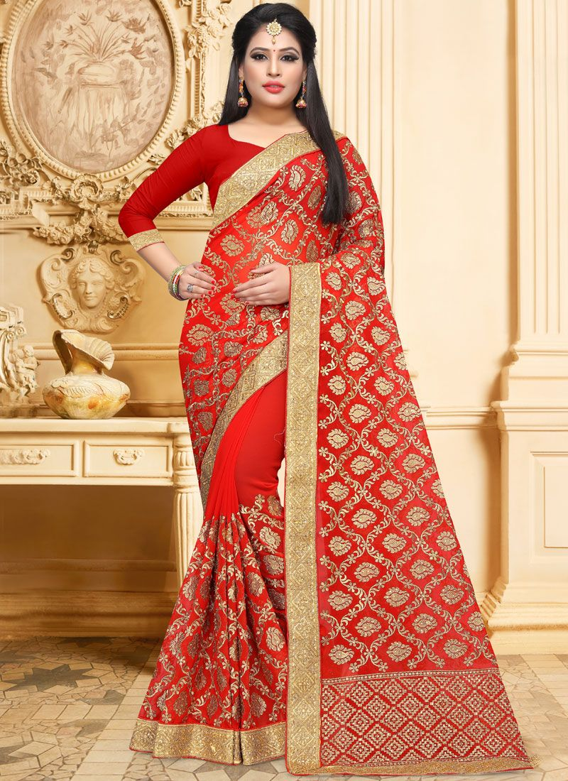 Faux Georgette Red Embroidered Classic Designer Saree