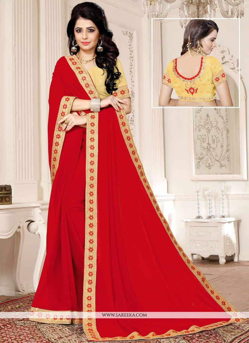 Faux Georgette Red Embroidered Work Classic Designer Saree