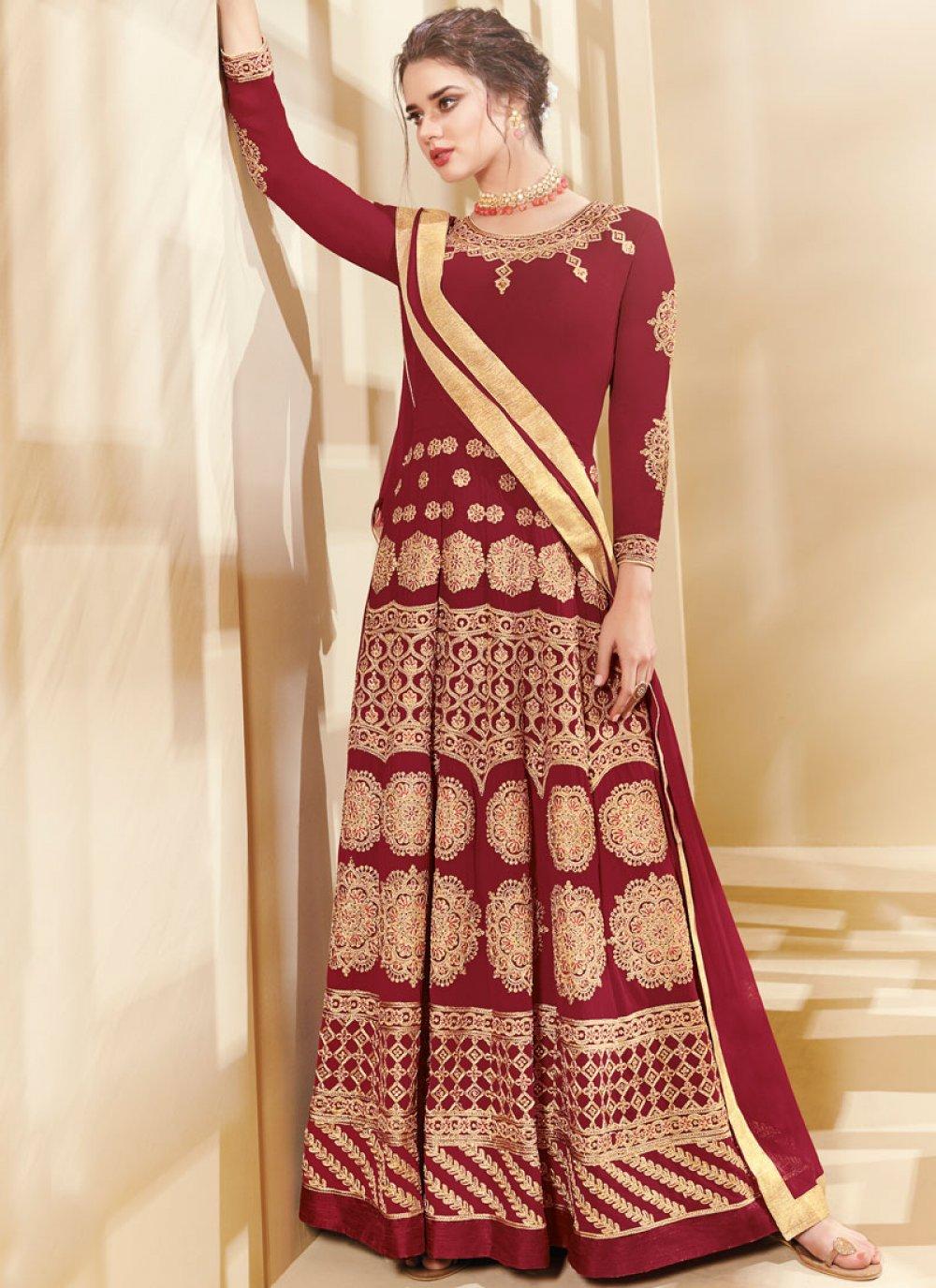 Faux Georgette Red Lace Work Floor Length Anarkali Suit