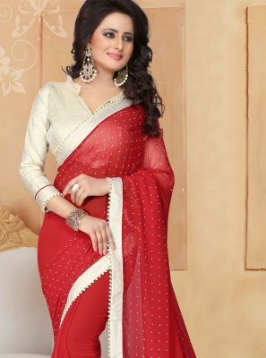 Faux Georgette Red Moti Work Classic Saree