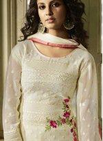 Faux Georgette Resham Churidar Designer Suit in White