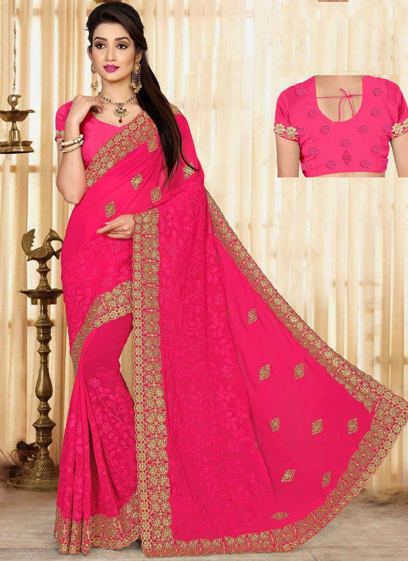 0166246c425ec Buy Online Faux Georgette Resham Work Classic Saree   78801 - Saree