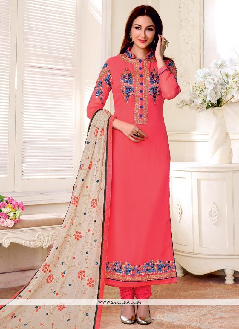 Faux Georgette Resham Work Designer Straight Suit