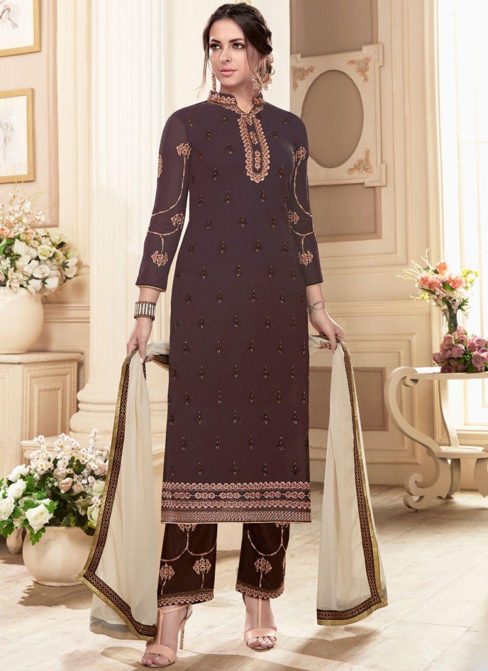 Faux Georgette Resham Work Designer Straight Suit