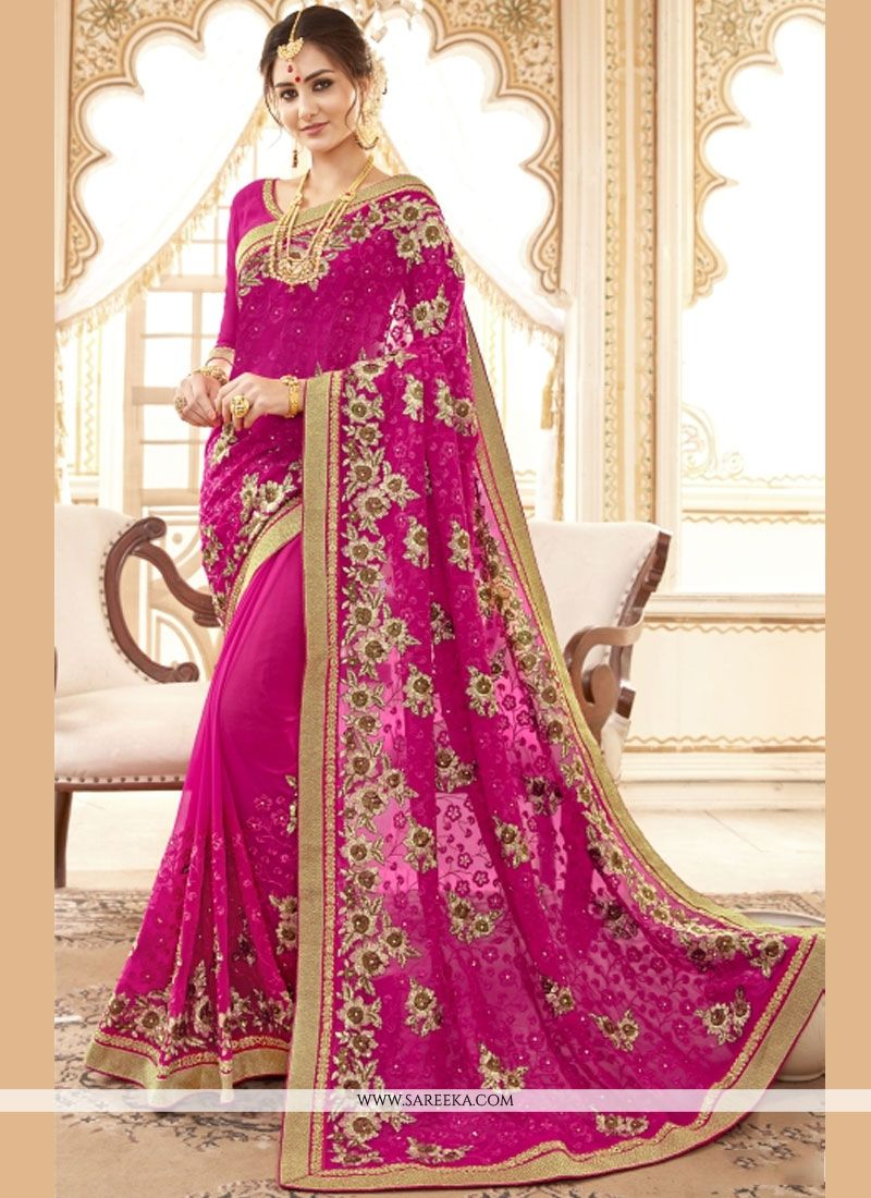 f5902a22a560a Buy Faux Georgette Resham Work Designer Traditional Saree Online -