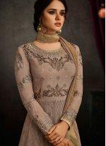 Faux Georgette Resham Work Floor Length Anarkali Suit