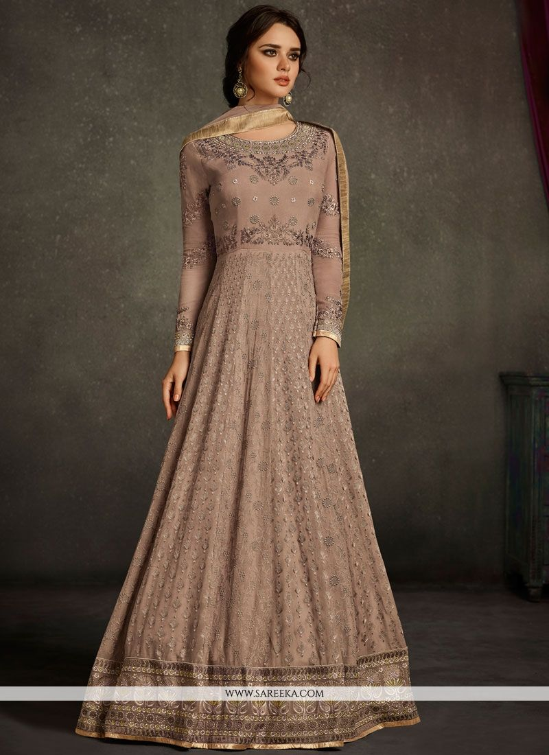 Faux Georgette Resham Work Floor Length Anarkali Suit