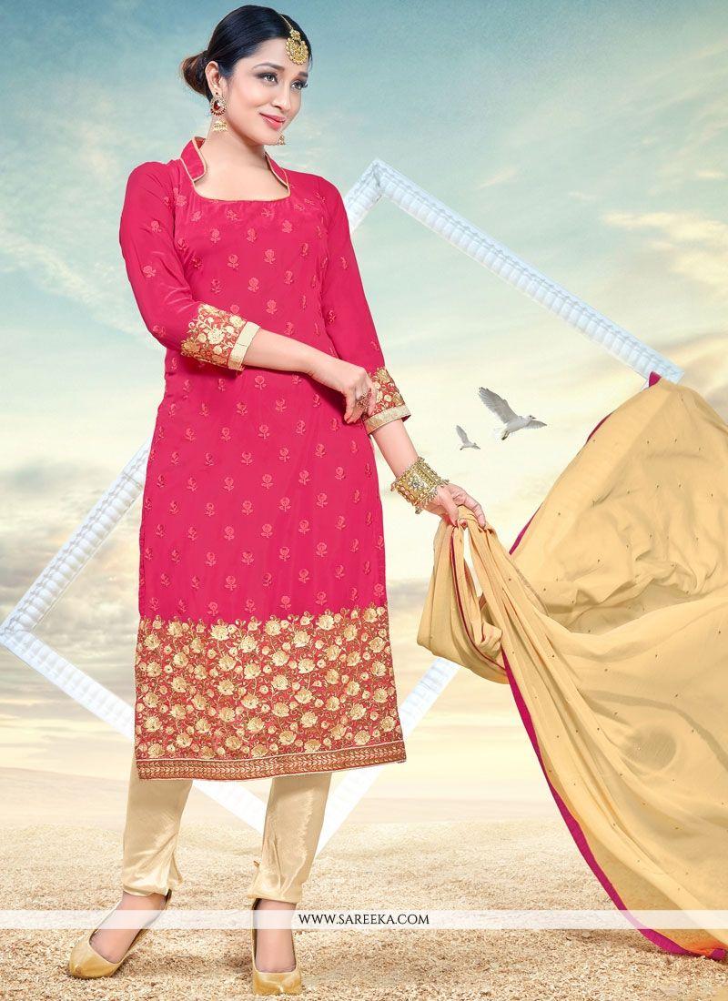 Faux Georgette Rose Pink Churidar Designer Suit