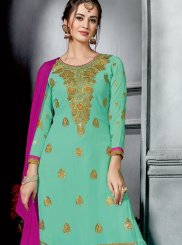 Faux Georgette Sea Green Lace Designer Palazzo Suit