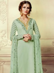 Faux Georgette Sea Green Resham Work Pant Style Suit