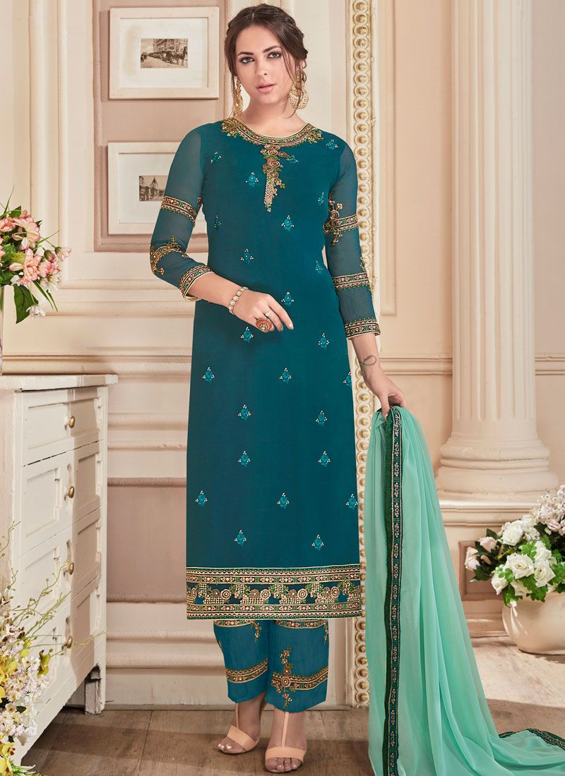Faux Georgette Teal Embroidered Work Designer Straight Suit