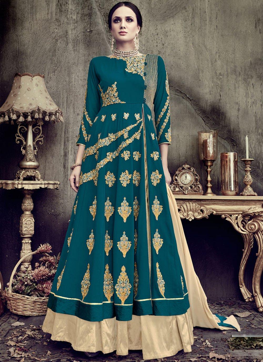 Faux Georgette Teal Floor Length Anarkali Suit