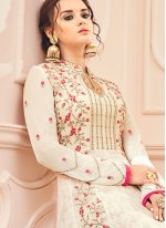 Faux Georgette White Embroidered Work Floor Length Anarkali Suit