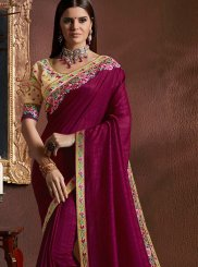 Faux Georgette Wine Classic Saree