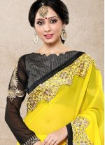Faux Georgette Yellow Classic Designer Saree