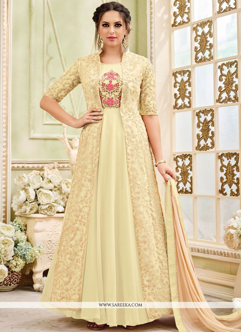 Faux Georgette Yellow Embroidered Work Anarkali Salwar Kameez