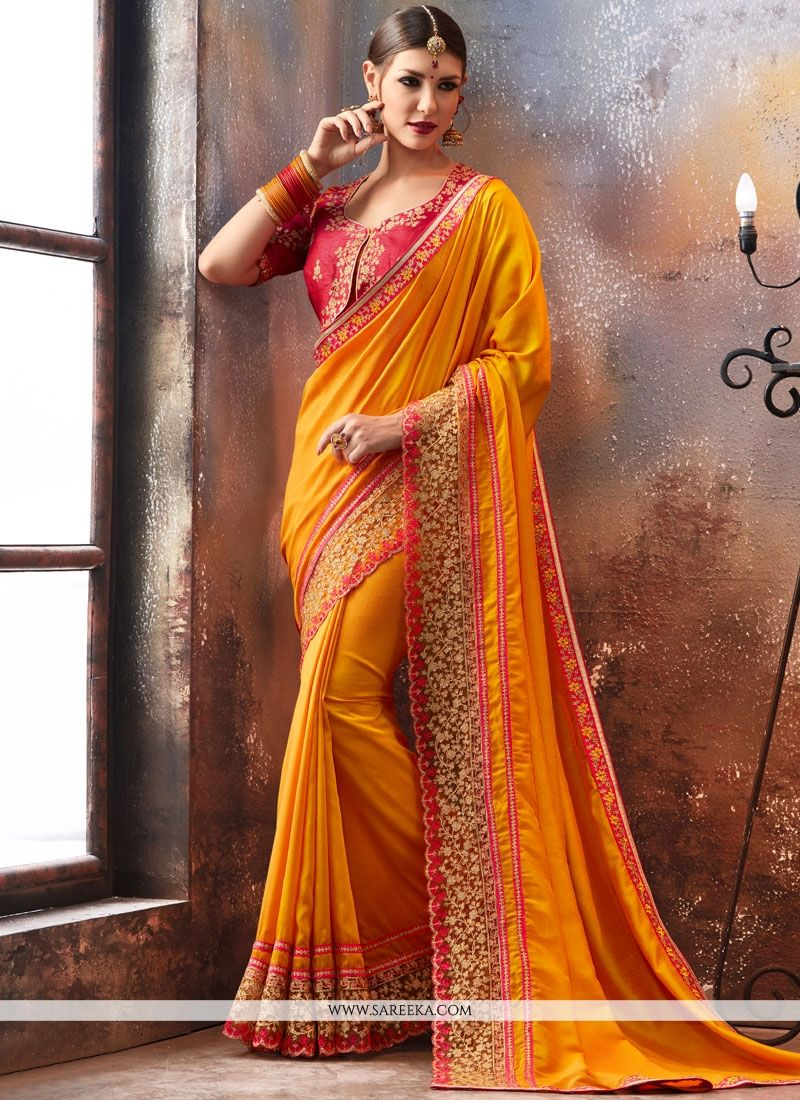 Faux Georgette Zari Work Saree