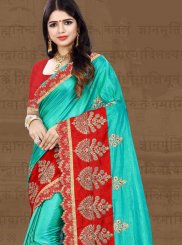 Firozi Embroidered Art Silk Traditional Designer Saree