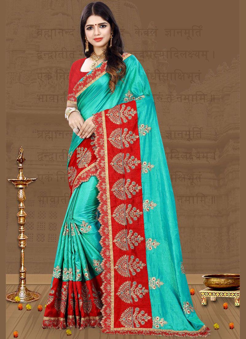 Firozi Embroidered Art Silk Traditional Designer Saree