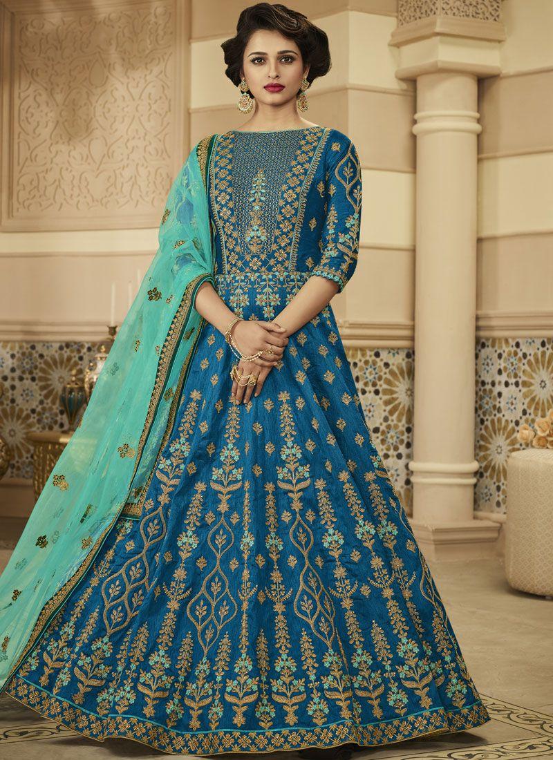 Floor Length Anarkali Suit Zari Art Silk in Blue